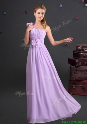 2017 Sweet One Shoulder Lavender Prom Dress with Ruching and Handmade Flowers
