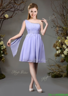 Beautiful Chiffon One Shoulder Beaded Prom Dress in Lavender