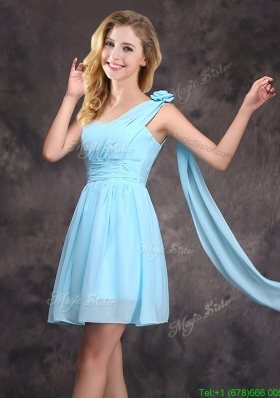 Top Seller Baby Blue Prom Dress with Handcrafted Flower and Ruching