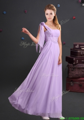 2017 Affordable One Shoulder Ruched Long Dama Dress in Chiffon