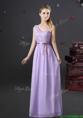 2017 Beautiful Belted and Applique Lavender Dama Dress with One Shoulder