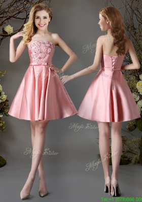 2017 Best Selling Applique and Bowknot Pink Short Dama Dress in Satin