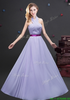 2017 Classical Halter Top Long Prom Dress with Purple Belt and Ruching