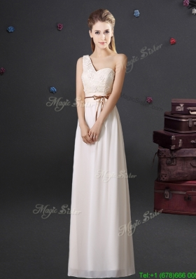 2017 Gorgeous Empire One Shoulder Applique Prom Dress in Off White