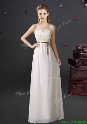 2017 Lovely Sweetheart Chiffon Laced Prom Dress with Appliques and Belt
