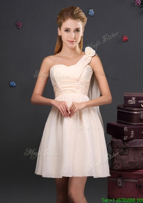 2017 Sweet Handmade Flower and Ruched Dama Dress with One Shoulder