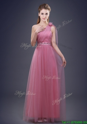 2017 Unique One Shoulder Prom Dress with Beaded Decorated Waist