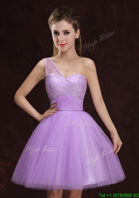 Affordable One Shoulder Tulle Short Dama Dress with Lace