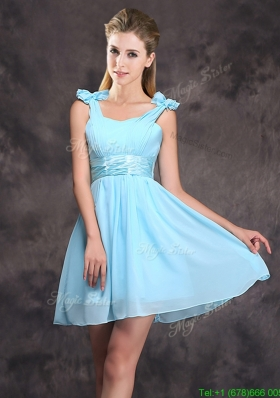 Affordable Straps Empire Dama Dress with Ruching and Bowknot