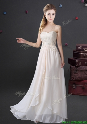 Beautiful Applique and Laced Sweetheart Long Prom Dress in Chiffon