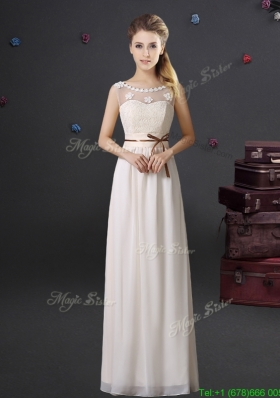 Classical See Through Scoop Laced and Belted Dama Dress with Appliques