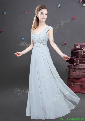 Elegant One Shoulder Ruched Decorated Bodice Dama Dress in Chiffon