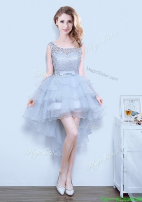 Exclusive High Low Grey Prom Dress with Bowknot and Ruffled Layers
