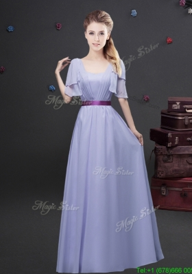 Exquisite Empire Square Belted Long Prom Dress with Short Sleeves