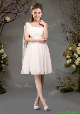 New Arrivals Empire Champagne Dama Dress with Beading and Ruching