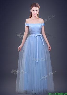 Simple Off the Shoulder Bowknot and Ruched Prom Dress in Tulle