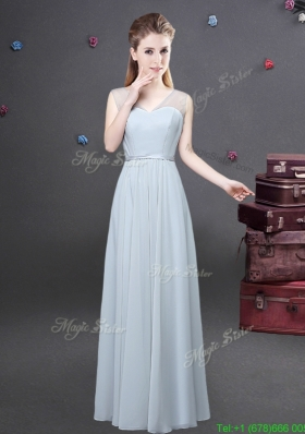 Traditional Empire V Neck Ruched Prom Dress in Grey