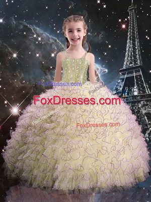 Light Yellow Straps Neckline Beading and Ruffles Party Dress for Girls Sleeveless Lace Up