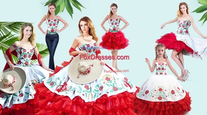 Red Lace Up Quinceanera Gowns Embroidery and Ruffled Layers Sleeveless Floor Length