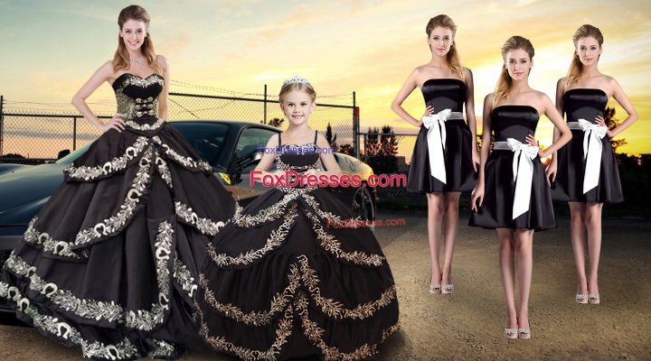 Black Lace Up Sweet 16 Dresses Embroidery and Ruffled Layers Sleeveless Floor Length