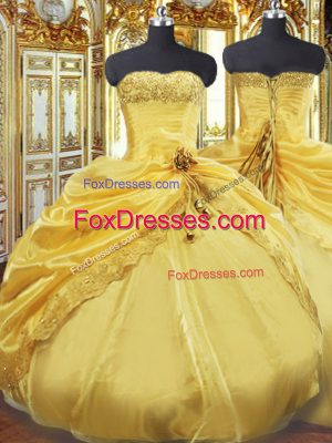 New Arrival Gold Ball Gowns Taffeta Strapless Sleeveless Beading and Pick Ups Floor Length Lace Up Quinceanera Dress