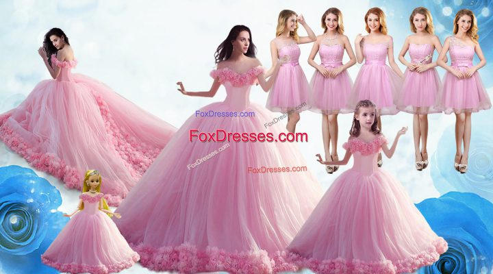 Baby Pink Sleeveless Floor Length Ruffles Lace Up Sweet 16 Quinceanera Dress