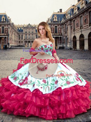On Sale Hot Pink Ball Gowns Organza Sweetheart Sleeveless Embroidery and Ruffled Layers Floor Length Lace Up Sweet 16 Dresses
