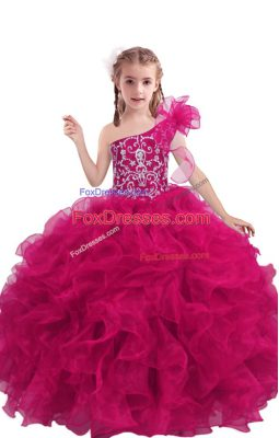 Floor Length Lace Up Womens Party Dresses Fuchsia for Quinceanera and Wedding Party with Beading and Ruffles