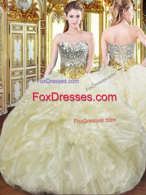 Vintage Light Yellow Ball Gowns Beading and Ruffles Sweet 16 Quinceanera Dress Lace Up Organza Sleeveless Floor Length
