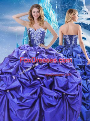 Sleeveless Taffeta Floor Length Lace Up Quinceanera Gowns in Purple with Beading and Pick Ups