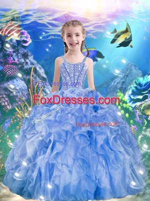 Light Blue Sleeveless Floor Length Beading and Ruffles Lace Up Party Dress for Toddlers
