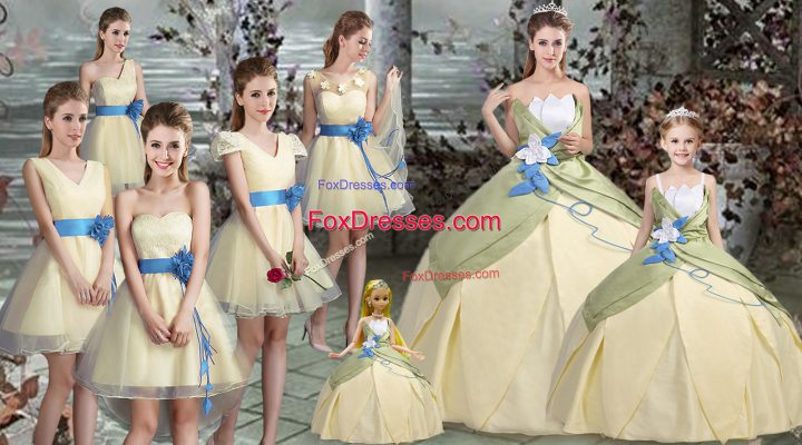 Enchanting Sleeveless Hand Made Flower Lace Up Sweet 16 Quinceanera Dress