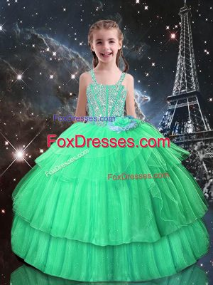 Admirable Straps Sleeveless Custom Made Floor Length Beading and Ruffled Layers Apple Green Tulle