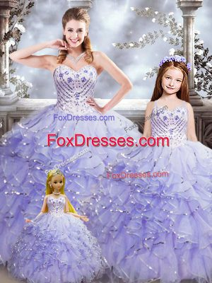Lavender Sweetheart Neckline Beading and Ruffles Quinceanera Gown Sleeveless Lace Up