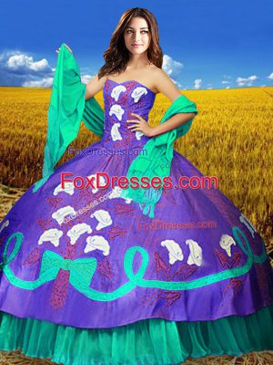 High Quality Multi-color Taffeta Lace Up Sweetheart Sleeveless Floor Length Sweet 16 Quinceanera Dress Embroidery