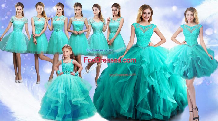 Turquoise Ball Gowns Scoop Sleeveless Tulle Floor Length Lace Up Beading and Lace Ball Gown Prom Dress