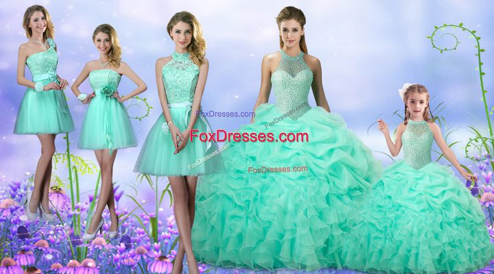 Best Apple Green Lace Up Quinceanera Dresses Beading and Ruffles and Pick Ups Sleeveless Floor Length