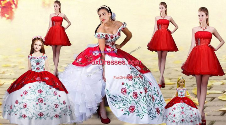 Fitting White And Red Quinceanera Gowns Off The Shoulder Sleeveless Brush Train Lace Up