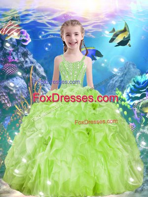 Yellow Green Sleeveless Floor Length Beading and Ruffles Lace Up Party Dress for Girls