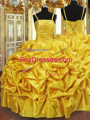 Spaghetti Straps Sleeveless Lace Up Quinceanera Gown Gold Taffeta