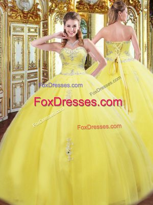 Custom Fit Sweetheart Sleeveless Lace Up Quinceanera Dresses Yellow Tulle