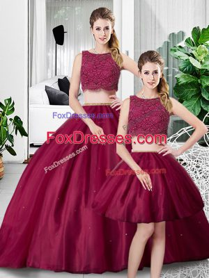 Glittering Fuchsia Two Pieces Lace and Ruching Vestidos de Quinceanera Zipper Tulle Sleeveless Floor Length