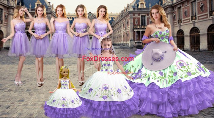 Sleeveless Lace Up Floor Length Embroidery and Ruffled Layers Sweet 16 Dresses