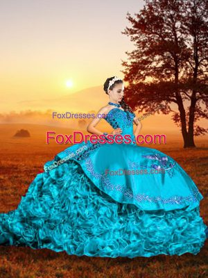 Discount Baby Blue Ball Gown Prom Dress Sweetheart Sleeveless Brush Train Lace Up