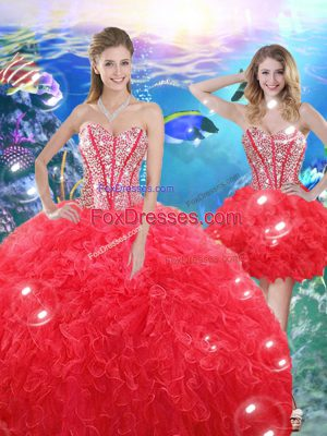 Ball Gowns Sweet 16 Quinceanera Dress Coral Red Sweetheart Organza Sleeveless Floor Length Lace Up