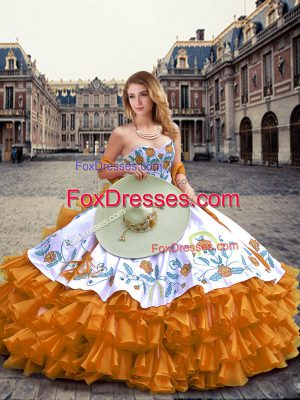 Orange Sweetheart Neckline Embroidery and Ruffled Layers Quinceanera Dresses Sleeveless Lace Up