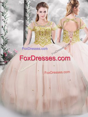 Cute Pink Short Sleeves Tulle Lace Up Quince Ball Gowns for Military Ball and Sweet 16 and Quinceanera