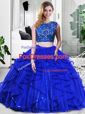 Fashionable Royal Blue Sweet 16 Quinceanera Dress Military Ball and Sweet 16 and Quinceanera with Lace and Ruffles Scoop Sleeveless Zipper
