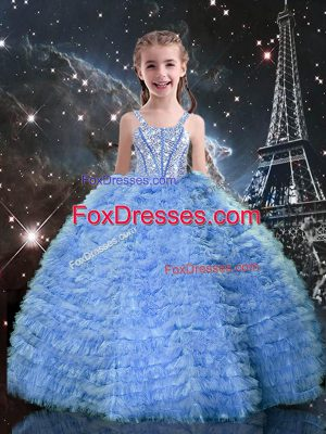Stunning Baby Blue Sleeveless Beading and Ruffled Layers Floor Length Party Dress Wholesale