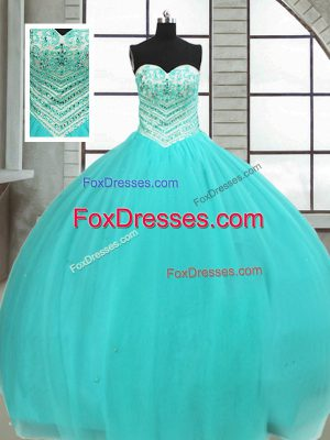 Great Ball Gowns Sweet 16 Quinceanera Dress Turquoise Sweetheart Tulle Sleeveless Floor Length Lace Up